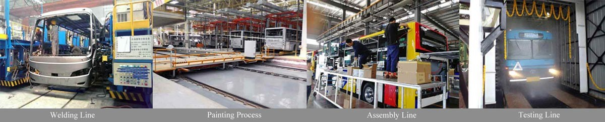 Bus production line consist of 4 sections